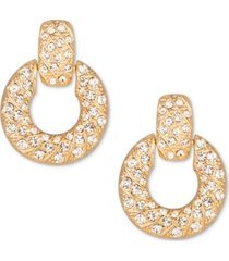 charter club gold-tone crystal doorknocker drop earrings, created for macy's
