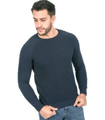 suéter para hombre tejido doble azul