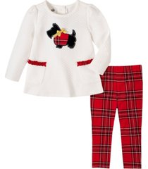 kids headquarters 2 piece little girls quilted scottie dog tunic with plaid legging set