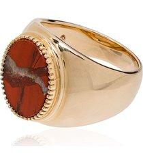 o thongthai 9kt gold jasper signet ring