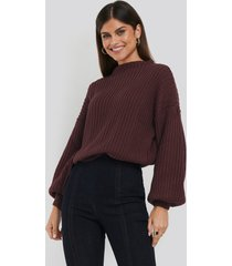 na-kd balloon sleeve knitted sweater - red