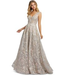 mac duggal embroidered floral ball gown