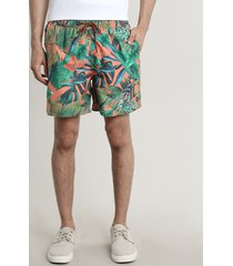 short masculino estampado de folhagem com bolsos laranja
