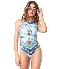 maiô/body new beach estampado náutico azul