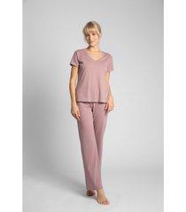 blouse lalupa la014 katoenen v-hals top - heather