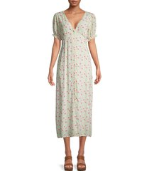 charlie holiday women's harley floral puff-sleeve dress - festive floral - size m