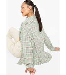 geruite oversized blouse, sage