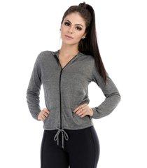 casaco dry fit evolution cajafit cinza - cinza - feminino - poliamida - dafiti
