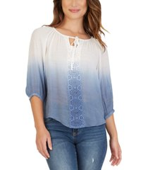 bcx juniors' crochet-trimmed dip-dyed peasant top