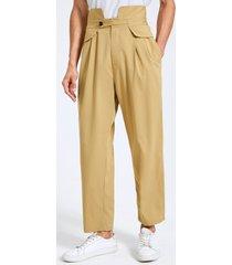 botón de moda para hombre diseño pierna ancha cintura alta casual gurkha pantalones