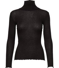 wool t-shirt turtleneck regular ls t-shirts & tops long-sleeved zwart rosemunde