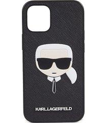 karl lagerfeld logo faux leather iphone 12 mini case