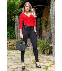 pantalón pretina ancha outfit 1076 para mujer negro