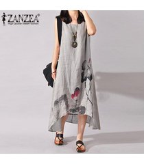 zanzea más el tamaño s-5xl de las mujeres sin mangas del algodón flojo de lino del verano una línea de vestido vestido del tanque (gris) -gris