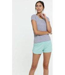pijama estampa bolinhas manga curta feminino