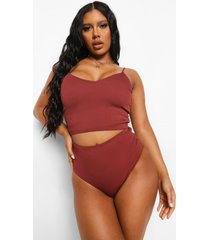 mix & match korte geribbelde long line bikini top, chocolate
