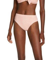 women's robin piccone ally high waist bikini bottoms, size large - coral