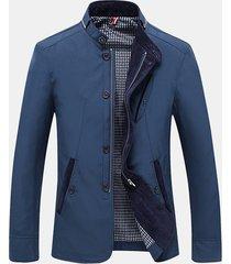 uomo giacca casual business a slim fit con colletto a listino e chiusura lampo