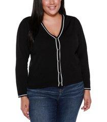 belldini black label plus size long sleeve v-neck button up cardigan