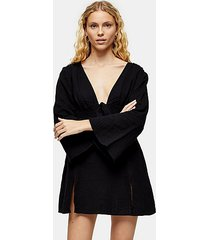 black tie front kaftan mini beach dress - black