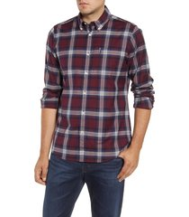 men's barbour highland check tailored fit button-down shirt, size large - red