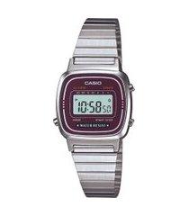 relógio digital casio feminino - la670wa4dfu prateado