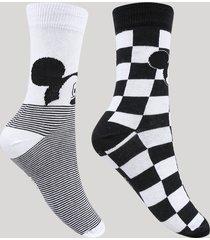 kit de 2 meias femininas cano alto mickey estampadas multicor