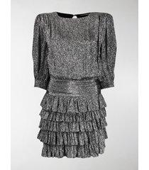 saint laurent ruffle trim mini dress