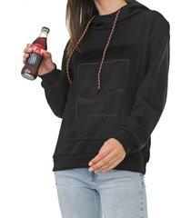 moletom fechado coca-cola jeans tela neon preta - preto - feminino - algodã£o - dafiti