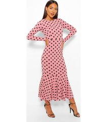 polka dot fishtail long sleeve midaxi dress, pink