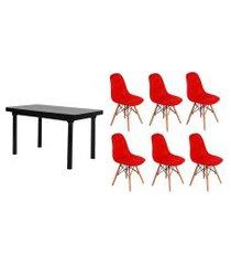 kit mesa de jantar frança 160x80 preta + 06 cadeiras charles eames botonê - vermelha