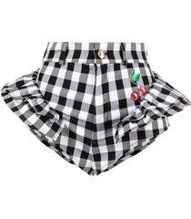 gcds checker-print micro shorts - black