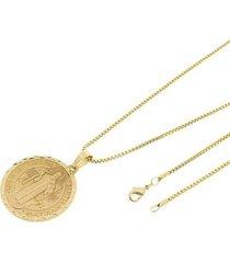 kit medalha são bento tudo joias com corrente veneziana 1,5mm e 60cm folheado a ouro 18k