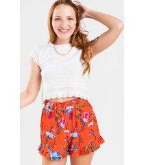 kat floral ruffled shorts - red