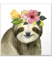 "stupell industries coachella ready sloth in flower crown wall plaque art 12"" l x 0.5"" w x 12"" h"