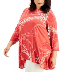 alfani plus size printed swing top, created for macy's