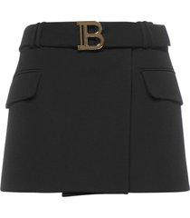 balmain short low-rise belted gdp skirt