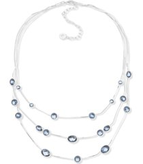 "anne klein silver-tone blue stone three-row necklace, 16"" + 3"" extender"