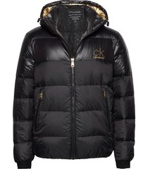 gold logo puffer jacket fodrad jacka svart calvin klein