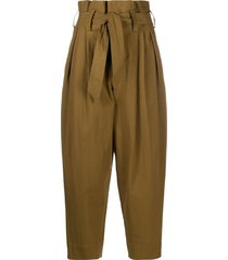 mes demoiselles tie-waist balloon-leg trousers - green