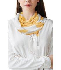 women's nicoletta rosi stripe fringe scarf, size one size - yellow