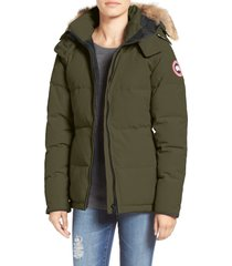 women's canada goose 'chelsea' slim fit down parka with genuine coyote fur trim, size xx-small - green