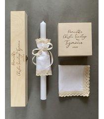 zestaw na chrzest: szatka + świeca + pudełko