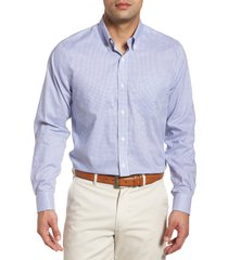 men's cutter & buck tattersall classic fit non-iron sport shirt, size xxx-large - blue