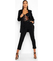 getailleerde broek met ceintuur, zwart