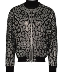 balmain leopard-rhinestone bomber jacket - black