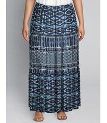 lane bryant women's tiered printed midi skirt 10/12 napa diamond stripe