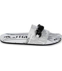 john galliano women's newspaper-print pool slides - white - size 5 sandals