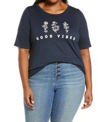 plus size women's bobeau short sleeve graphic tee, size 3x - blue