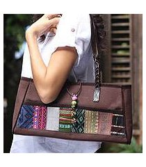 leather and cotton handbag, 'chocolate brown' (thailand)